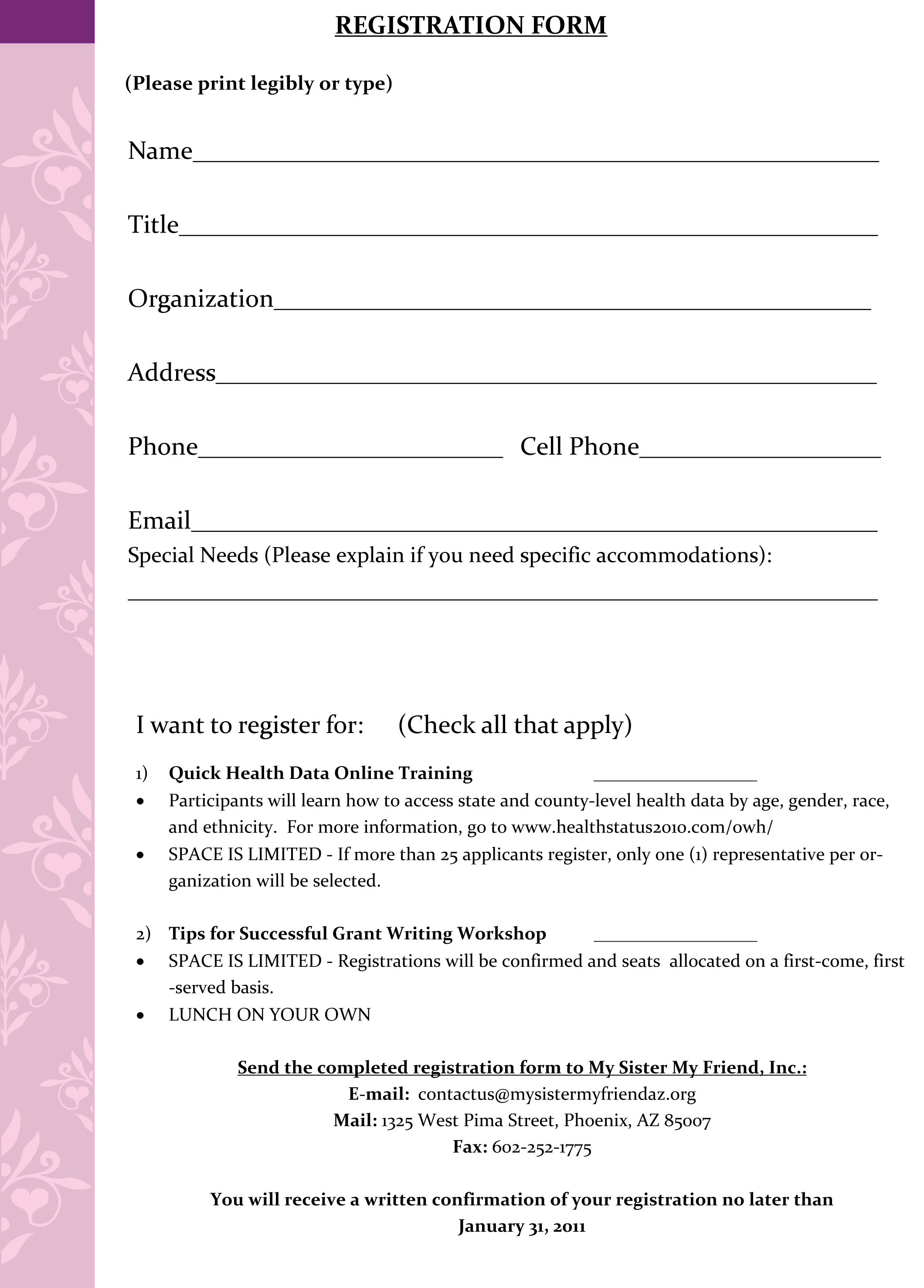 Registration Form Template Microsoft - Template Examples